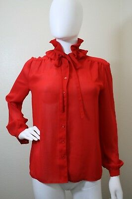 SCHRADER SPORT NEW YORK VINTAGE BLOUSE LONG SLEEVE DETACHABLE COLLAR TOP 8 RED