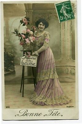 CPA - Carte Postale - Fantaisie - Bonne Fête - Sainte Louise - Femme - 1904