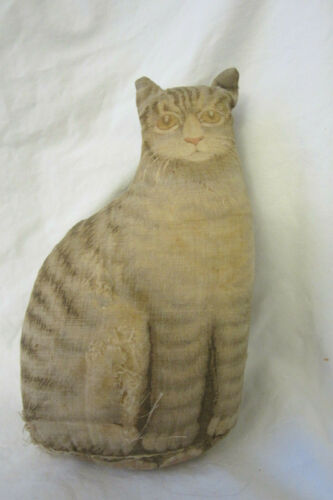 1892 Arnold Print Works Primitive Cloth Fabric Cat - small, rips
