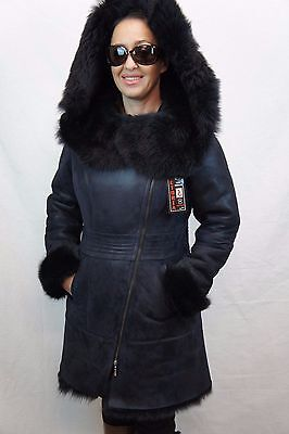 Shearling Leather Coat - Navy 100% Toscana Sheepskin Shearling Leather Lambskin Coat Jacket Hood XS-7XL