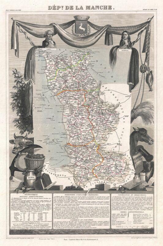 1852 Levasseur Map of the Department De La Manche, France