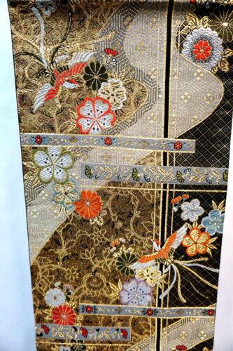 "Japanese Kimono SILK Fukuro OBI, Rokutu ,Gold thread, Lucky bird, L171""..1901"