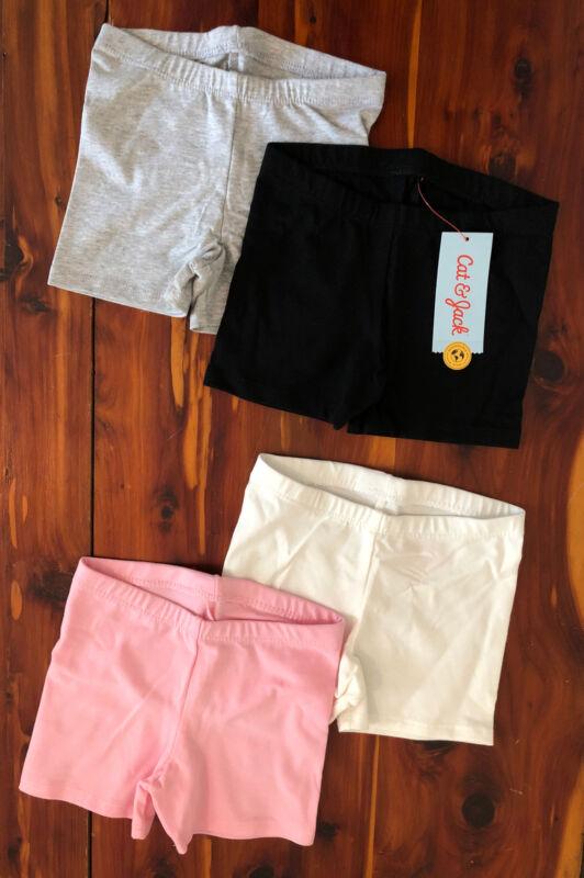 Cat & Jack Girls' Biker Shorts Size 4T Black Gray Pink White 4 Pack