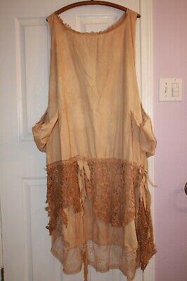 Prairie Child Magnolia Cotton & Tattered Lace Dress O/S Tea Stain Pearl GUC R95 Lace Tea Dress