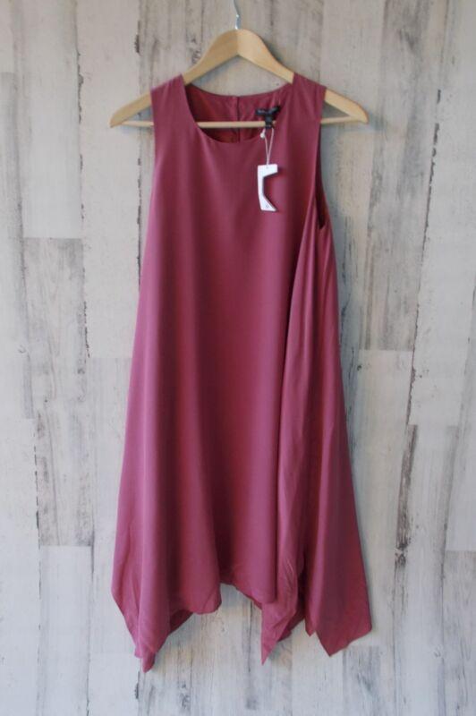 fe29884405 NWT  358 Eileen Fisher Mauve 100% Silk Sleeveless Hanky Hem Midi Dress PS