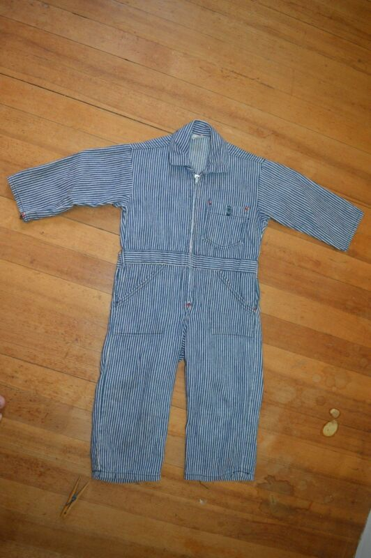 Vintage 50s Boys Overalls Coveralls Hickory Stripe American Made Zip Up sz 2
