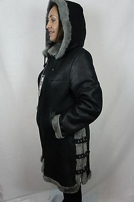 Shearling Leather Coat - Black 100% Sheepskin Shearling Leather Bomber Pilot Aviator Jacket Coat XS - 6XL