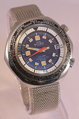 Vintage BULER CD 385 World Time 17 Jewel Compressor Style Diver's Watch