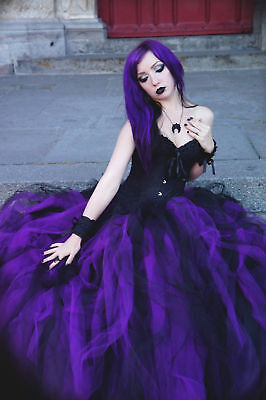 Vintage Black And Purple Gothic Vampire Corset Prom Party Long Wedding Dresses