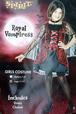 SPIRIT~GIRLS ROYAL VAMPIRESS VAMPIRE DRESS HALLOWEEN COSTUME~L 11 12 13~NEW (Halloween Costumes For Girls 11-12)