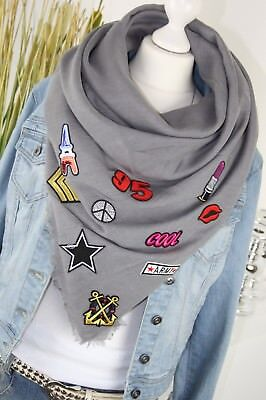 TUCH XXL SCHAL mit PATCHES Fashion Sticker Schal Tuch GRAU IT SCARF NEU H/M-65