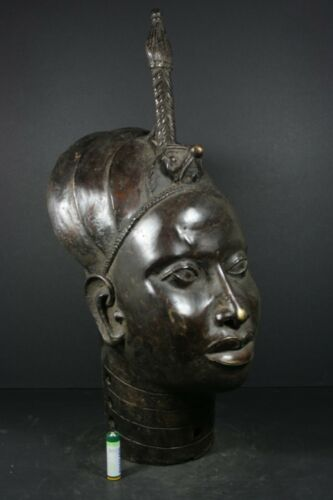 "Life size 20.1"" African BENIN Bronze IFE, ONI King head - Nigeria, TRIBAL ART"