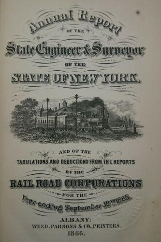 Railroad Annual Surveyor Report New York 1865 w Litho BRIDGE ACROSS HUDSON RIVER