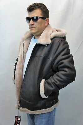 Shearling Leather Coat - BROWN /BEIGE 100% SHEEPSKIN SHEARLING LEATHER B3 Bomber Flight Coat Jacket S-8XL