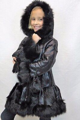 Black Kids Coat - BLACK 100% GENUINE SHEEPSKIN SHEARLING LEATHER GIRLS KIDS CHILDREN COAT JACKET