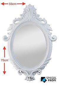 Spiegelprofi Spiegel weiß barock 75x55cm Wandspiegel oval modern weiss Bad Flur