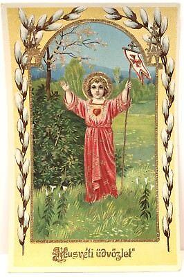 Easter Greetings, Antique Vintage Hungarian Holy Devotional Postcard, Ser 2998