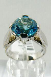 3-CTW-GENUINE-ROUND-CUT-BLUE-TOPAZ-INLAY-DIAMOND-WHITE-14K-GOLD-RING-NEW-999
