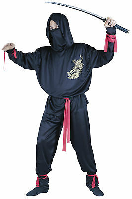 Ninja Adult Men's Red Sash Costume Hooded Shirt With Gold Dragon - Ninja Sash