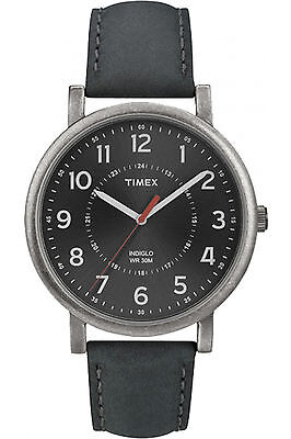 Timex T2P219, Men's Classic, Dark Grey Leather Watch, Indiglo, T2P2199J