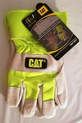 Cat Merchandise Leather Palm Work Gloves W High Fluorescent Visibility