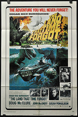 LAND THAT TIME FORGOT 1975 ORIGINAL 27X41 MOVIE POSTER DOUG McCLURE JOHN McENERY