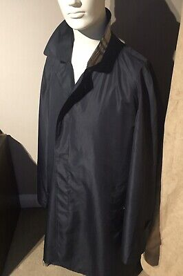 Burberry lightweight Mac Raincoat UK42-Eu52 Navy/Purple Buttons V-RARE Ex Cond