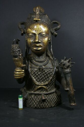 African BENIN Bronze Buste IFE Royal King - Nigeria Benin,TRIBAL ART CRAFTS