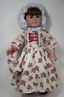 Colonial Floral-Rose Gown Dress Cap Doll Clothes For 18