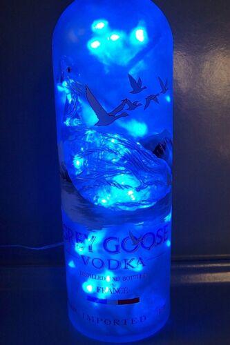 GREY GOOSE VODKA 1L Liquor Bottle Accent Light w/ 100 BLUE LEDs Lights Inside