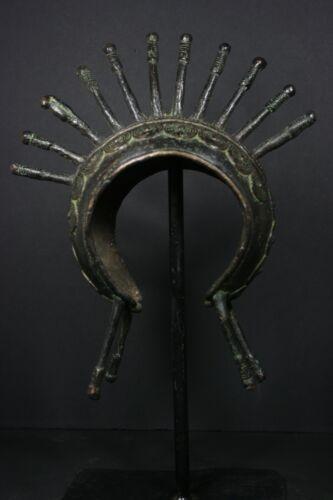 African Bronze Bracelet, Currency on metal stand - TIKAR - Cameroon TRIBAL ART