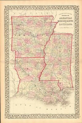 1874 ANTIQUE MAP - USA - ARKANSAS, MISSISSIPPI, LOUISIANA