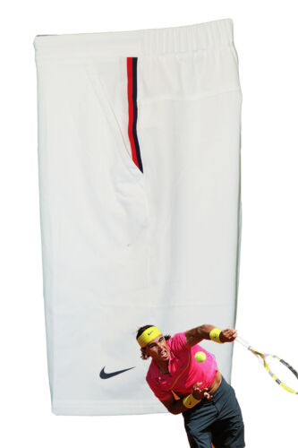 NEW NIKE Mens Dri Fit Stay Cool TENNIS SHORTS White Red / Navy Trim Small