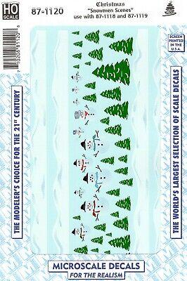 HO Scale Microscale 87-1120 Christmas Train Graphics Snowman Scenes Decal Set