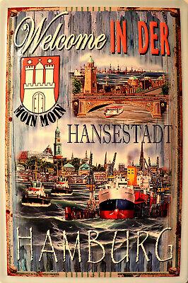 Dampfschiff Hamburg Amerika Blechschild Schild 3D geprägt Tin Sign 20 x 30 cm