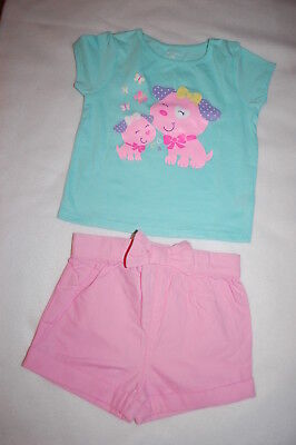 Baby Girls Outfit MINT S/S TEE SHIRT Puppy Dogs PINK SHORTS Bow Accent 24 MO