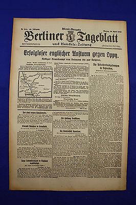 BERLINER TAGEBLATT (30.4.1917): Erfolgloser englischer Ansturm gegen Oppy