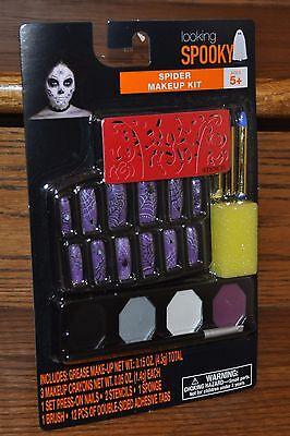 Halloween Spider Makeup Kit Grease Make-Up Crayons Fake Nails Stencils Party NEW - Make Halloween Makeup