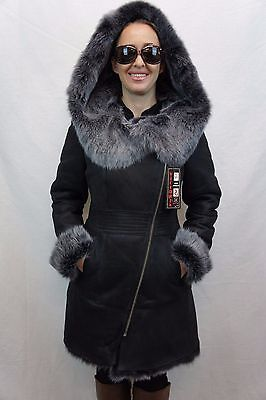 Shearling Leather Coat - Black 100% Toscana Sheepskin Shearling Leather Lambskin Coat Jacket Hood XS-7XL