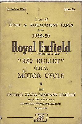 ROYAL ENFIELD 350 BULLET 1958-59 ORIGINAL FACTORY ILLUSTRATED PARTS CATALOGUE