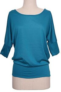 Women Boatneck Batwing Dolman Sleeve Knit Top Loose Fit Slouchy Jersey Tee Shirt