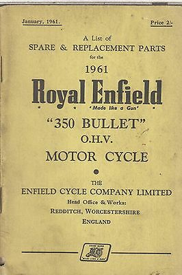 ROYAL ENFIELD 350 BULLET ORIGINAL 1961 FACTORY ILLUSTRATED PARTS CATALOGUE