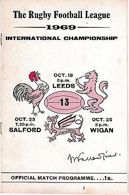 1969 ENGLAND V FRANCE RUGBY LEAGUE INTERNATIONAL CHAMPIONSHIP
