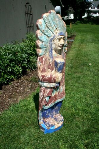 Antique Cigar Store Native American Indian 19c carved wood polychrome Sculpture