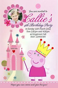 10 x PRINCESS PEPPA PIG PERSONALISED PARTY INVITATIONS
