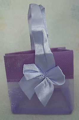 2 Small Lavender Purple Organza Jewelry 3x2x3 Gift Tote Bags Satin Bow & Handle