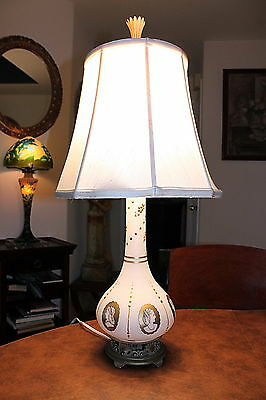 Vintage Table Lamp with Cameo Portraits & Brass Base
