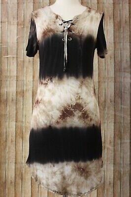- Heart Hips Tie Dye Rayon Spandex Dress Juniors Large Brown Black Cream