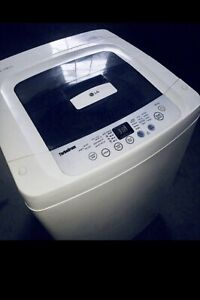 New apt-size lg 2.6 Cu.ft portable washer w wheels ..canDeliver