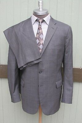 Hickey Freeman Milburn II Gray Check Two Button Wool Suit Flat Front Hemmed 46L